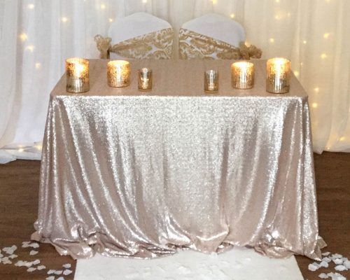 Champagne Sequin Tablecloth Ceremony Table