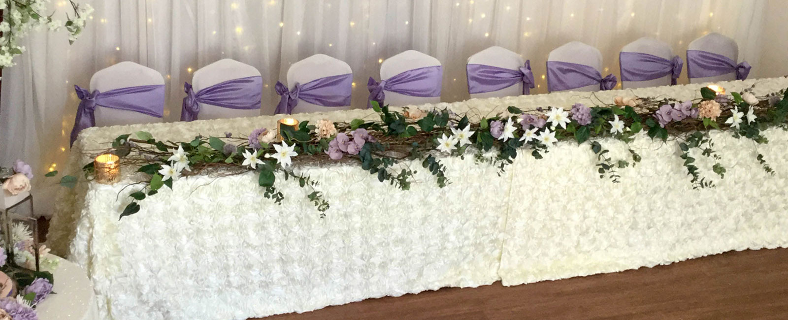 woodland top table decoration in Essex