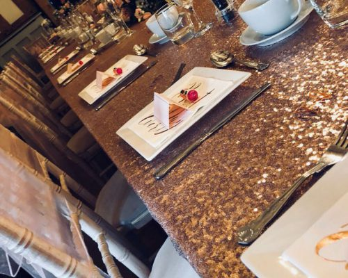 Rose Gold Sequin top table