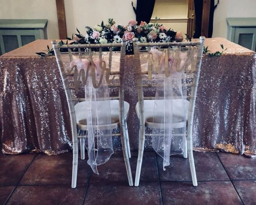 Rose Gold Sequin Ceremony Table