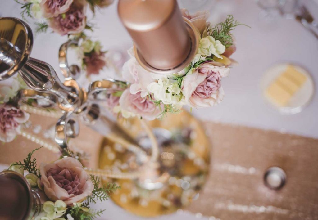 rose gold dusky pink candelabra wedding essex